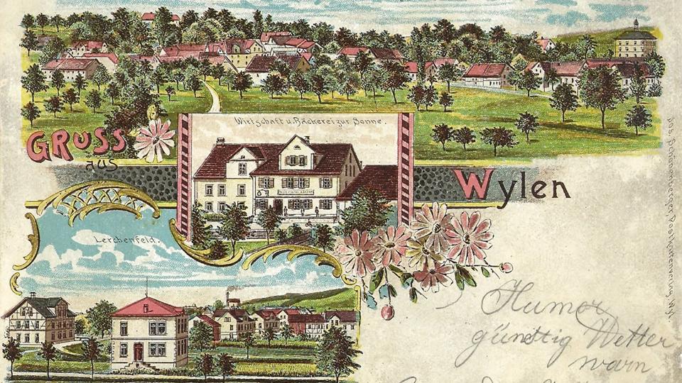 Lithographie von Wilen, gelaufen 1906